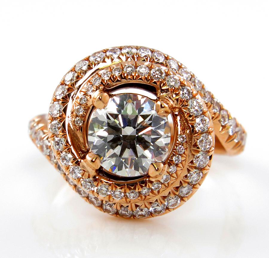 GIA 2.26ct Estate Vintage ROUND Brilliant Cut Diamond Engagement Wedding 18k Rose Gold Ring