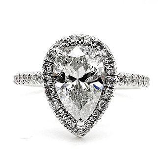 2.30ct Estate Vintage PEAR Shaped Diamond Engagement Wedding Pave Halo White Gold Ring