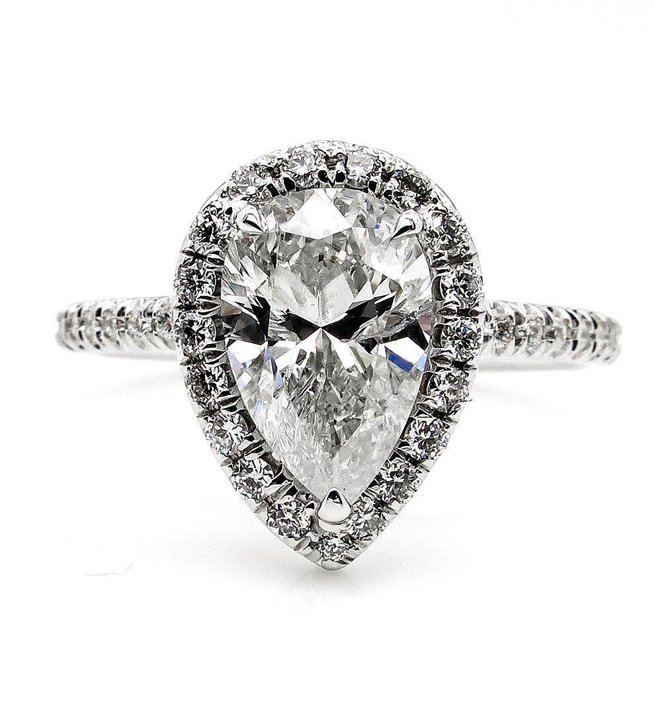 2.30ct Estate Vintage PEAR Shaped Diamond Engagement Wedding Pave Halo White Gold Ring