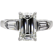 Timeless GIA 2.42ctw Estate Vintage Emerald Cut Diamond Platinum Three Stone Engagement Wedding Ring
