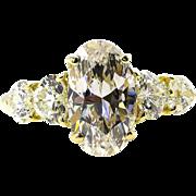 Stunning GIA 2.43ct Vintage OVAL DIAMOND Engagement Wedding 18k Gold Ring
