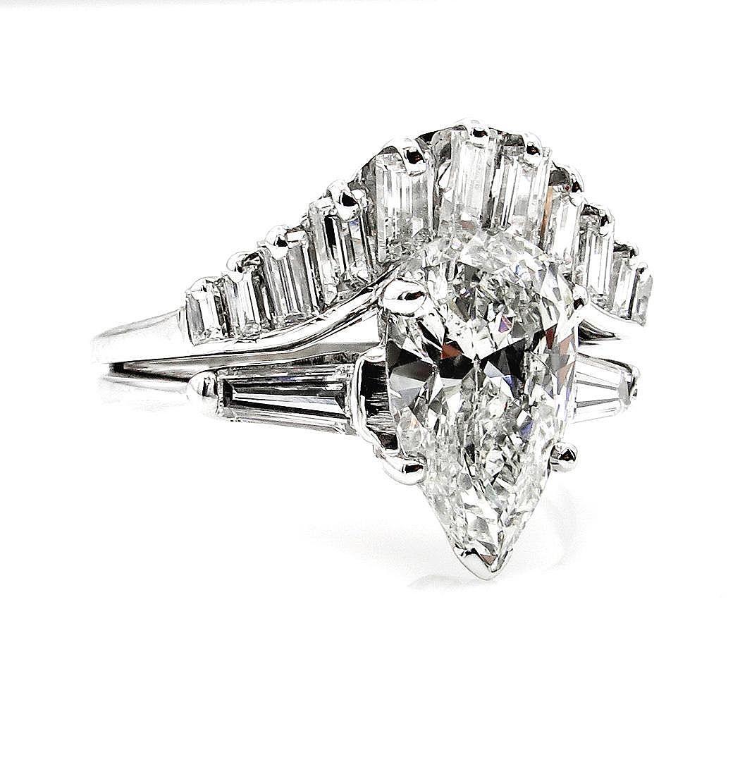 Mid-Century 2.44ct Estate Vintage PEAR Shaped Diamond Engagement ...