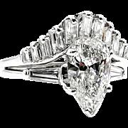 Mid-Century 2.44ct Estate Vintage PEAR Shaped Diamond Engagement 14k WG Ring , Wedding Set