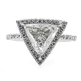 Vintage GIA 2.45ctw Trillion Diamond Engagement Halo Pave Platinum Ring