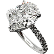 Estate Vintage GIA 2.50ctw PEAR Shaped Diamond Pave Solitaire 14K WG Engagement Wedding Ring