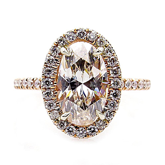 GIA Estate Vintage 2.53ct OVAL Diamond Solitaire Engagement Halo Rose Gold Ring
