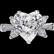 GIA 2.54ct Vintage HEART Shape Diamond ENGAGEMENT Wedding Anniversary Ring 18k