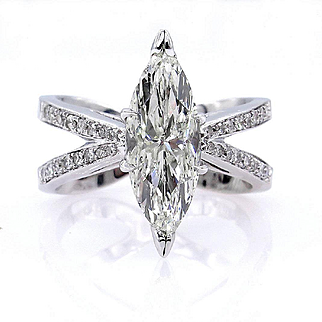 Estate Vintage 2.55ct MARQUISE Diamond Solitaire Engagement Wedding 14k White Gold Ring