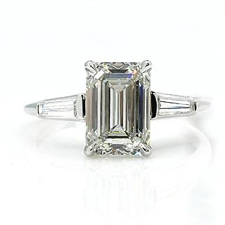 Timeless 2.58ctw Estate Vintage Emerald Cut Diamond Platinum Engagement Wedding Ring