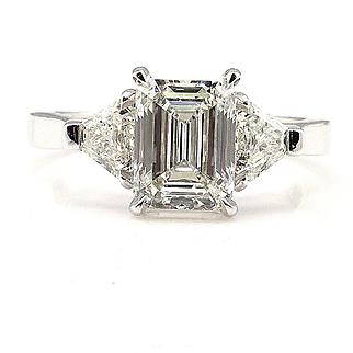 GIA 2.60ct Estate EMERALD cut Diamond 3 Stone Engagement Platinum Wedding Ring