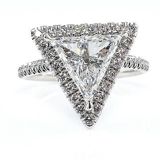 Colorless GIA 2.61ctw Trillion Diamond Engagement Halo Pave Platinum Ring