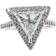 Colorless GIA 2.61ctw Trillion Diamond Engagement Halo Pave Platinum Ring