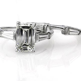 GIA 2.67ctw Estate Vintage Emerald Cut Diamond Platinum Engagement Ring with Matching Wedding Band