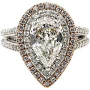 D-IF GIA 2.73ct Estate PEAR Shaped Diamond Halo Pave Engagement Wedding Gold Ring