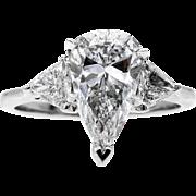 GIA 2.73ct Estate Vintage PEAR Shaped 3 Stone Diamond Engagement Wedding WG Ring