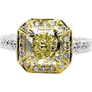 Fine GIA 2.74ctw Estate Vintage Natural Fancy Yellow Radiant Diamond Engagement Wedding Ring