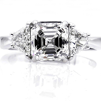 GIA J-VVS1 Estate 2.75ct ASSCHER Square EMERALD cut Diamond 3 Stone Engagement Platinum Wedding Ring