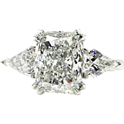 GIA 2.88ct H-VS2 Estate Vintage CUSHION Cut Diamond 3 Stone Engagement Wedding Platinum Ring