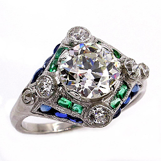 Art Deco GIA Vintage Antique 3.0ct Old EUROPEAN Diamond Sapphire Emerald Platinum Engagement Ring