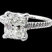 GIA J-VVS2 3.0ctw CUSHION Cut Diamond Solitaire Vintage Estate Engagement Pave Platinum Ring