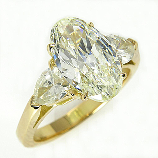 Stunning GIA 3.01ct Vintage OVAL DIAMOND Engagement Wedding Trilogy 18k Gold Ring