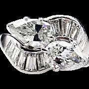 "Estate Vintage 3.01ctw Twin ""Toi et Moi"" Pear Shaped Diamond Crossover Platinum Ring"