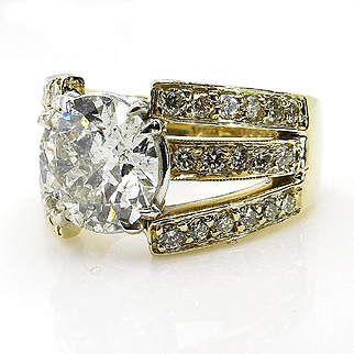 Wide 3.02ct Estate Vintage Round Diamond Engagement Wedding 18k Yellow Gold Ring