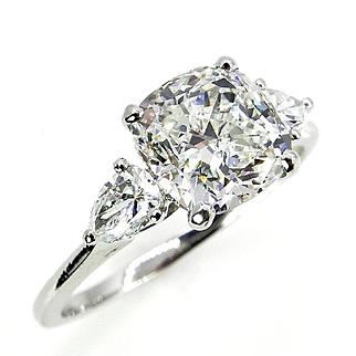 Colorless 3.03ct Vintage CUSHION Cut Diamond 3 Stone ENGAGEMENT Wedding Platinum RING by Birks