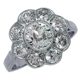 1920 Antique 3.05ctw OLD EUROPEAN Diamond Cocktail Cluster Wedding Engagement Ring