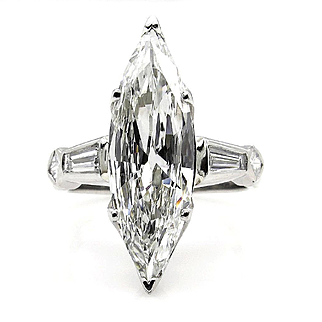 1930..Vintage Estate 3.05ct Classic Old Marquise Cut EGL USA Diamond Engagement PLATINUM Ring