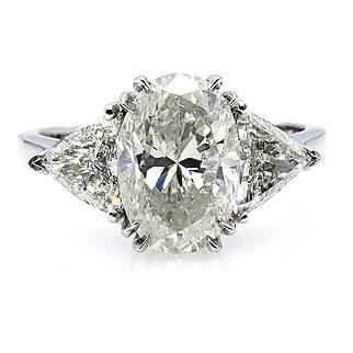 Classic GIA 3.06ct Vintage Estate Natural OVAL Diamond Engagement Wedding 3 Stone Platinum Ring