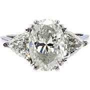 Classic GIA 3.06ct Vintage Estate Natural OVAL Diamond Engagement Wedding 3 Stone Platinum Ring