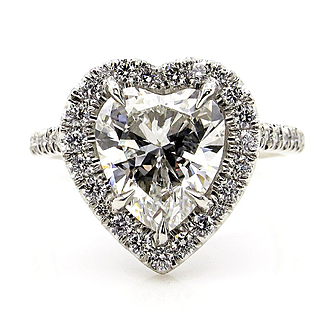 GIA G-VS1 3.08ctw Classic HEART Shaped Diamond Halo Estate Vintage Engagement Platinum Ring