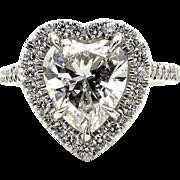 GIA G-VS1 3.08ctw Classic HEART Shaped Diamond Halo Estate Vintage Engagement Platinum Ring