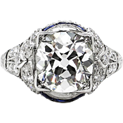 Edwardian/Deco 3.12ct  Antique Cushion Diamond & Sapphire Platinum Engagement Wedding Ring