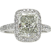 3.08ct Estate Vintage Radiant Cut Diamond EGL USA Engagement Wedding Halo Platinum Ring