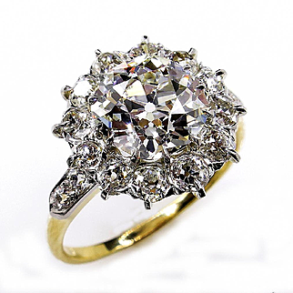 Victorian GIA 3.22ct Old Mine Cushion Diamond Antique Vintage Cluster Wedding Engagement 18k Gold Platinum Ring