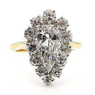 GIA Vintage 3.27ct Antique Old European Pear Shaped Platinum 18k Gold Cluster Ring