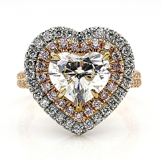 GIA G-VVS2 3.27ctw HEART Shaped Diamond Halo Estate Vintage Engagement White Rose Gold Ring