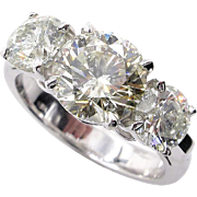 3.38ct Estate Vintage Round Diamond 3 Stone Engagement Wedding 18k WG Ring