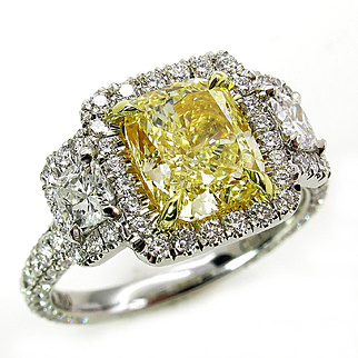 "Estate GIA ""Canary"" VS1 3.41ctw Natural Fancy YELLOW Cushiont Cut Diamond Wedding Diamond Halo Pave Ring"