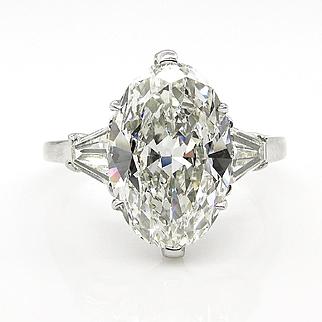 GIA 3.48ct Estate Vintage Classic OVAL Cut Diamond Engagement Three Stone Platinum Ring