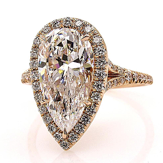 Colorless GIA 3.61ct Estate Vintage PEAR Shaped Diamond Engagement Wedding Pave Halo Rose Gold Ring
