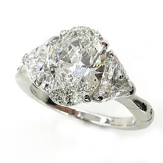 Classic 3.69ct Vintage Estate Natural OVAL Diamond Engagement Wedding 3 Stone Platinum Engagement Ring