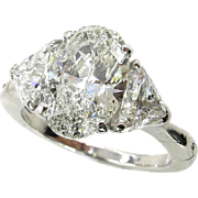 Classic 3.69ct Vintage Estate Natural OVAL Diamond Engagement Wedding 3 Stone Platinum Engagement Ring