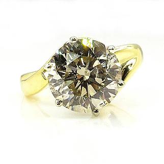 Huge 3.73ct Natural ROUND Diamond Engagement Wedding 18k Yellow Gold and Platinum Ring