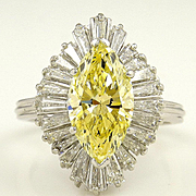"GIA 3.78ct Estate Fancy YELLOW MARQUISE Diamond ""Ballerina"" Engagement Ring"