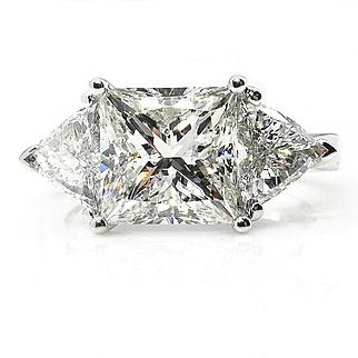 3.88ct Estate Vintage PRINCESS Cut Diamond 3 stone ENGAGEMENT Wedding Platinum Ring