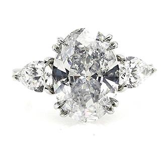 Stunning GIA D-Color 4.0ctw OVAL Diamond Three Stone Vintage Engagement Wedding Platinum Ring