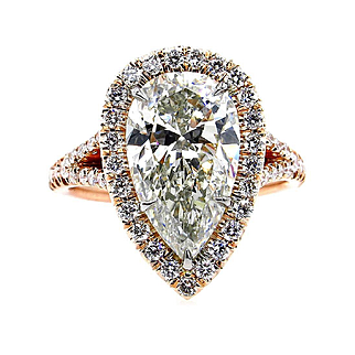 GIA 4.03ct Estate Vintage PEAR Shaped Diamond Engagement Wedding Pave Halo Rose Gold Ring